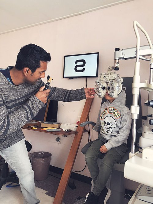 Bronte getting his eyes checked by Ravi