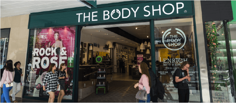 Shopfront image of The Body Shop with shoppers walking past outside