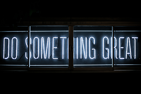 Do something great text in neon lights