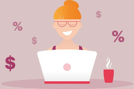 infographic of girl on computer surrounded by money symbols